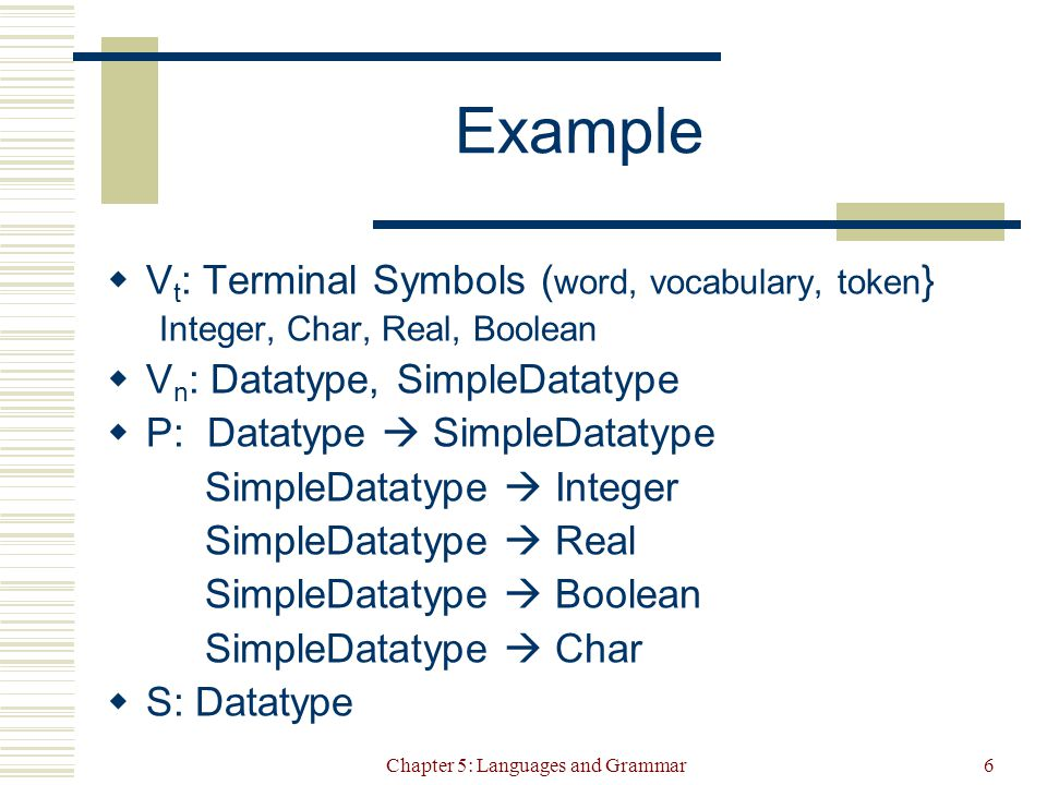 Chapter 5: Languages and Grammar6 Example  V t : Terminal Symbols ( word, vocabulary, token } Integer, Char, Real, Boolean  V n : Datatype, SimpleDatatype  P: Datatype  SimpleDatatype SimpleDatatype  Integer SimpleDatatype  Real SimpleDatatype  Boolean SimpleDatatype  Char  S: Datatype