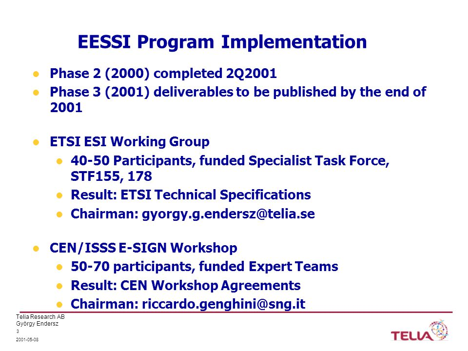 Telia Research AB György Endersz 2001-05-08 3 EESSI Program Implementation Phase 2 (2000) completed 2Q2001 Phase 3 (2001) deliverables to be published by the end of 2001 ETSI ESI Working Group 40-50 Participants, funded Specialist Task Force, STF155, 178 Result: ETSI Technical Specifications Chairman: gyorgy.g.endersz@telia.se CEN/ISSS E-SIGN Workshop 50-70 participants, funded Expert Teams Result: CEN Workshop Agreements Chairman: riccardo.genghini@sng.it