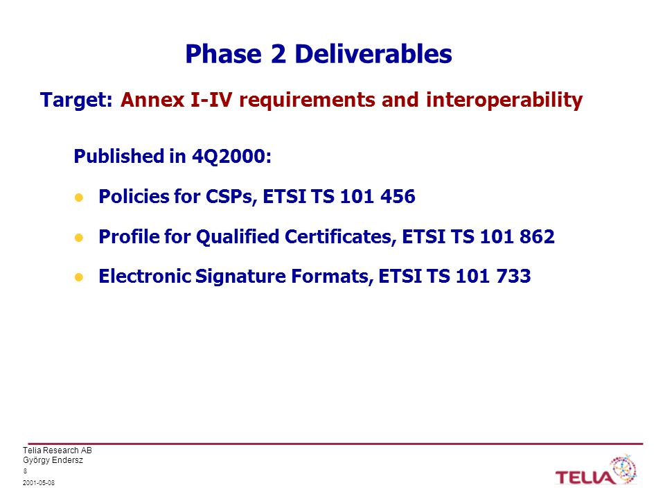 Telia Research AB György Endersz 2001-05-08 8 Phase 2 Deliverables Published in 4Q2000: Policies for CSPs, ETSI TS 101 456 Profile for Qualified Certificates, ETSI TS 101 862 Electronic Signature Formats, ETSI TS 101 733 Target: Annex I-IV requirements and interoperability