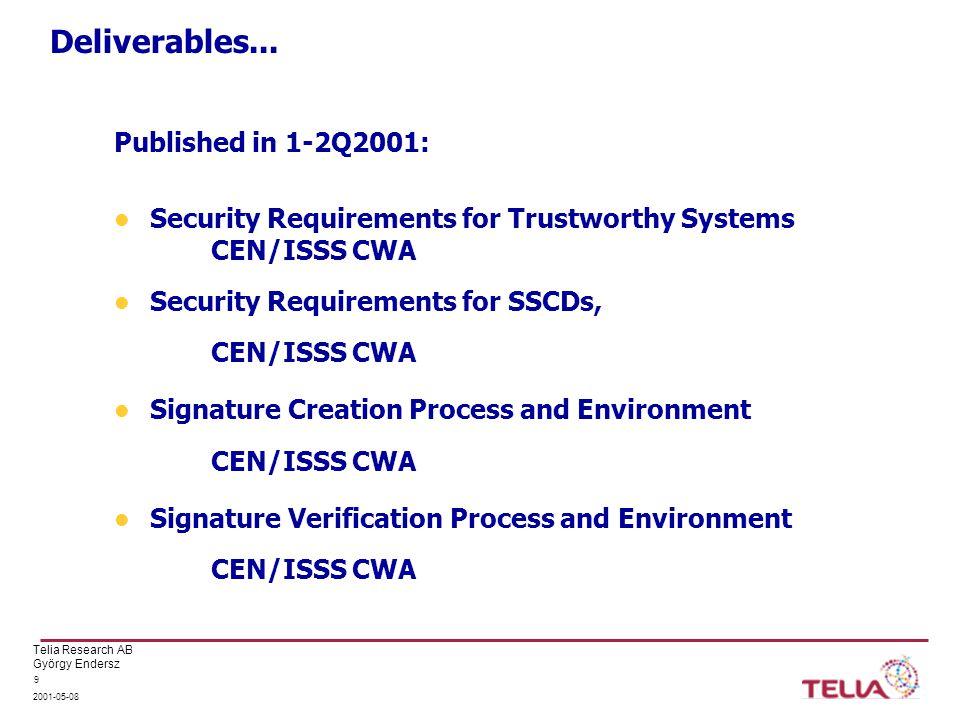 Telia Research AB György Endersz 2001-05-08 10 Deliverables...