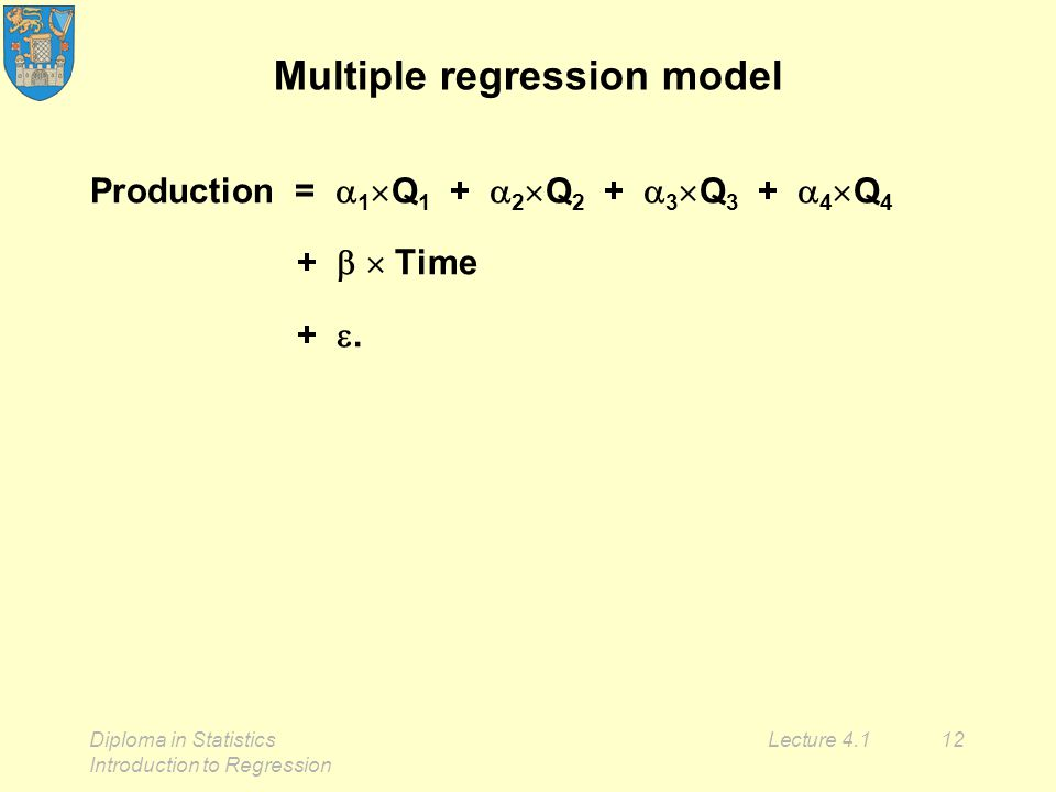 Diploma in Statistics Introduction to Regression Lecture 4.112 Multiple regression model Production =  1  Q 1 +  2  Q 2 +  3  Q 3 +  4  Q 4 +   Time + .