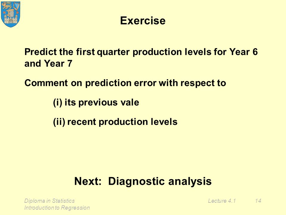 Diploma in Statistics Introduction to Regression Lecture 4.114 Exercise Predict the first quarter production levels for Year 6 and Year 7 Comment on prediction error with respect to (i) its previous vale (ii) recent production levels Next: Diagnostic analysis