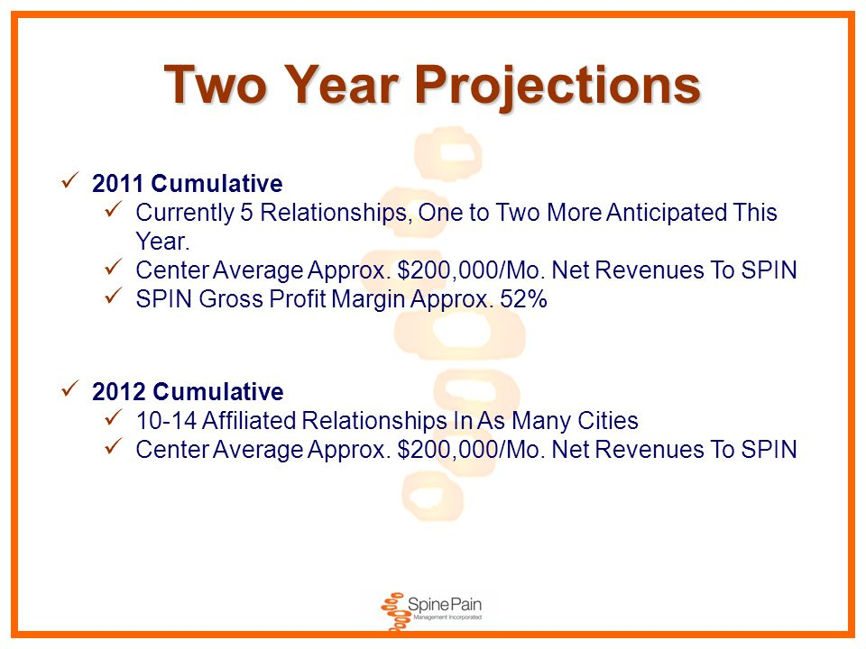 Two Year Projections 2011 Cumulative Currently 5 Relationships, One to Two More Anticipated This Year. Center Average Approx. $200,000/Mo. Net Revenue