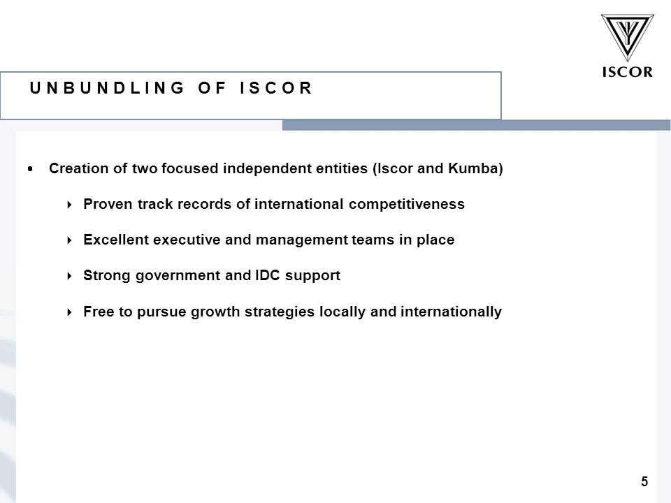 5 U N B U N D L I N G O F I S C O R  Creation of two focused independent entities (Iscor and Kumba)  Proven track records of international competitiveness  Excellent executive and management teams in place  Strong government and IDC support  Free to pursue growth strategies locally and internationally
