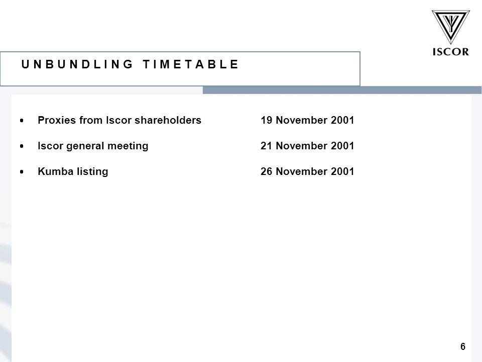 6 U N B U N D L I N G T I M E T A B L E  Proxies from Iscor shareholders19 November 2001  Iscor general meeting21 November 2001  Kumba listing26 November 2001