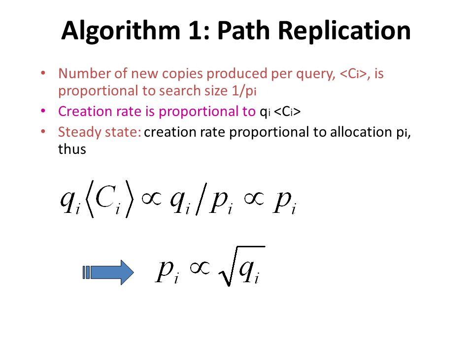 Algorithm 1: Path Replication Number of new copies produced per query,, is proportional to search size 1/p i Creation rate is proportional to q i Steady state: creation rate proportional to allocation p i, thus