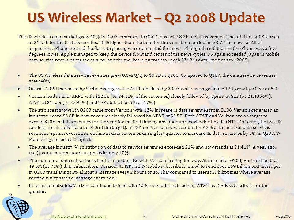 © Chetan Sharma Consulting, All Rights Reserved Aug 2008 2 http://www.chetansharma.com US Wireless Market – Q2 2008 Update The US wireless data market grew 40% in Q208 compared to Q207 to reach $8.2B in data revenues.