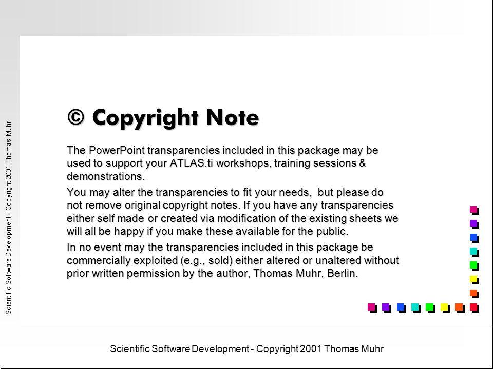 ATLAS.ti ® Scientific Software Development - Copyright 2001 Thomas Muhr© Scientific Software Development, Berlin, 2001 What's new in ATLAS.ti 4.2 s WYSIWYG - printouts of primary texts plus margin s Media - fine-grained segmentation and coding of video and audio files (incl.