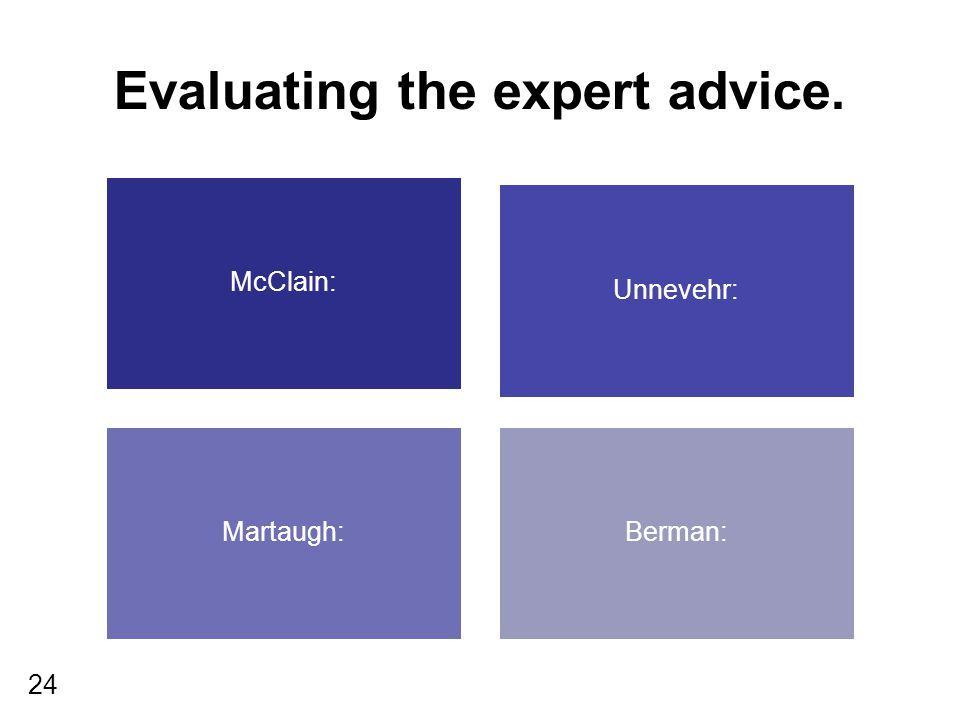24 Evaluating the expert advice. McClain: Unnevehr: Martaugh:Berman: