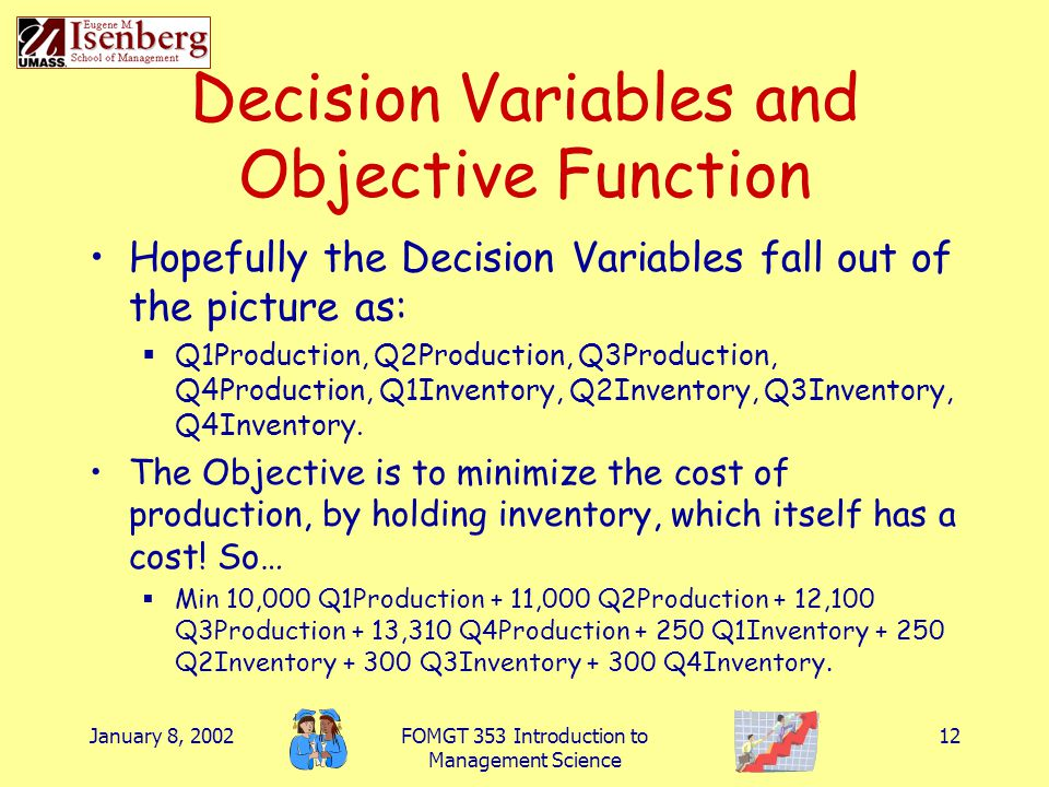 January 8, 2002FOMGT 353 Introduction to Management Science 12 Decision Variables and Objective Function Hopefully the Decision Variables fall out of
