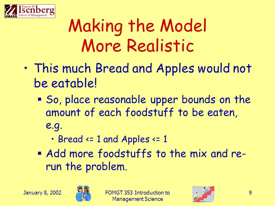 January 8, 2002FOMGT 353 Introduction to Management Science 9 Making the Model More Realistic This much Bread and Apples would not be eatable!  So, p