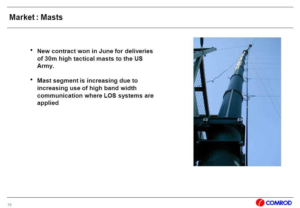 10 Market : Masts  New contract won in June for deliveries of 30m high tactical masts to the US Army.