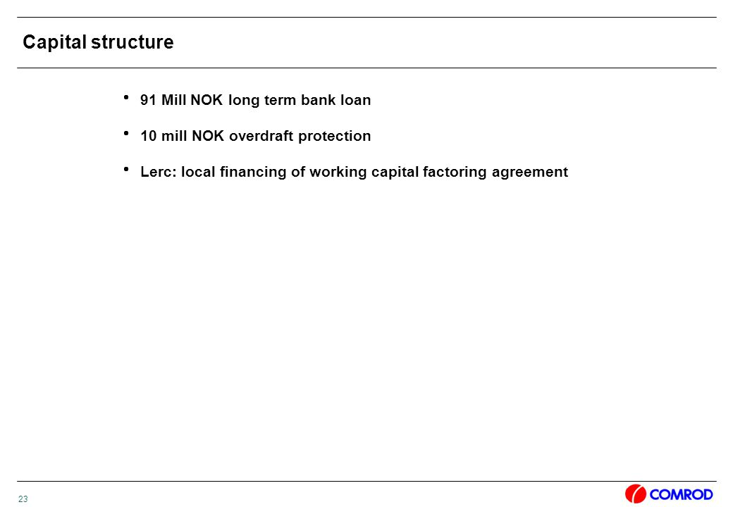 23 Capital structure  91 Mill NOK long term bank loan  10 mill NOK overdraft protection  Lerc: local financing of working capital factoring agreement