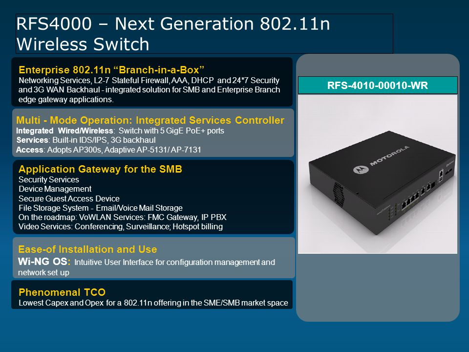 RFS4000 – Next Generation 802.11n Wireless Switch Application Gateway for the SMB Security Services Device Management Secure Guest Access Device File