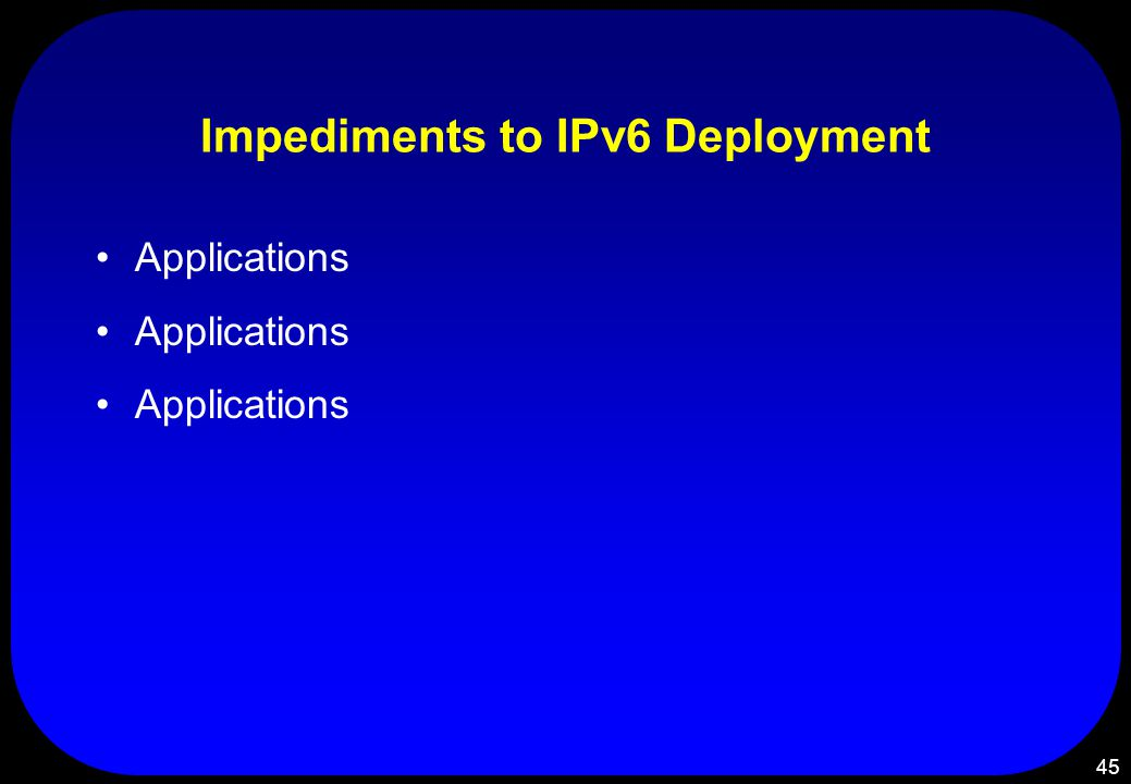 45 Impediments to IPv6 Deployment Applications