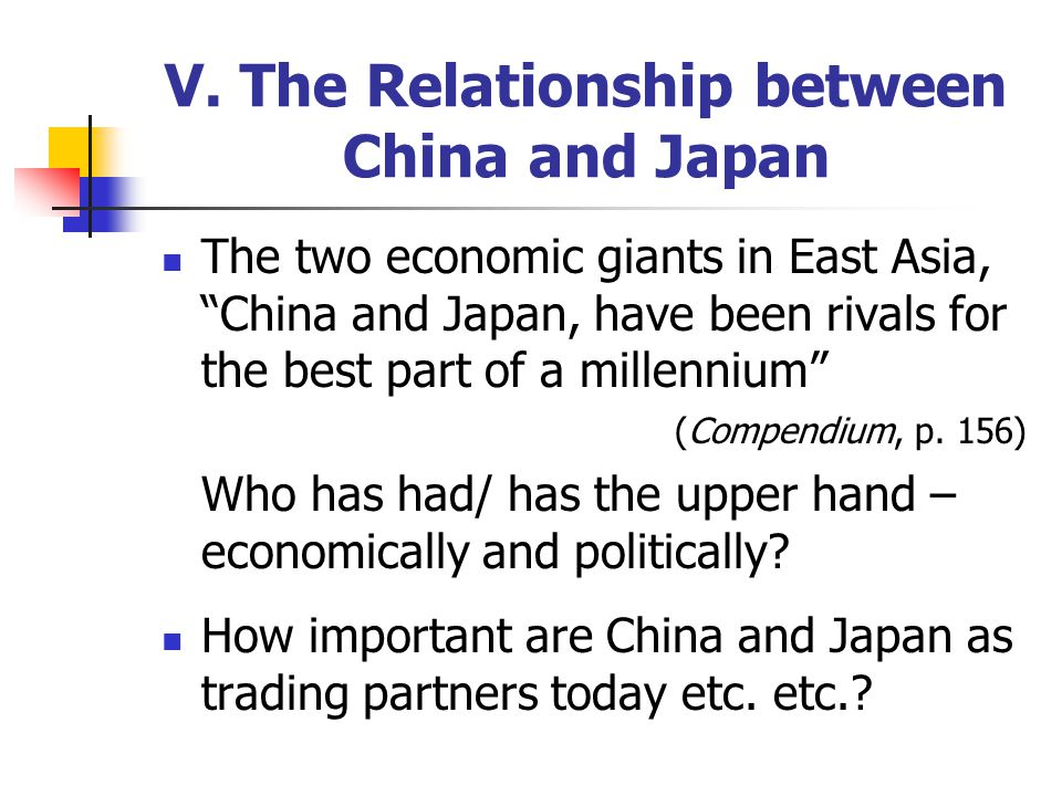 """V. The Relationship between China and Japan The two economic giants in East Asia, """"China and Japan, have been rivals for the best part of a millennium"""