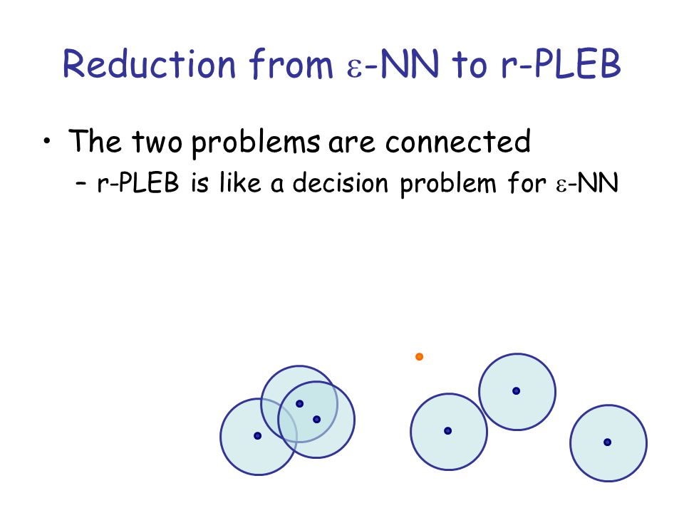 Reduction from  -NN to r-PLEB The two problems are connected –r-PLEB is like a decision problem for  -NN