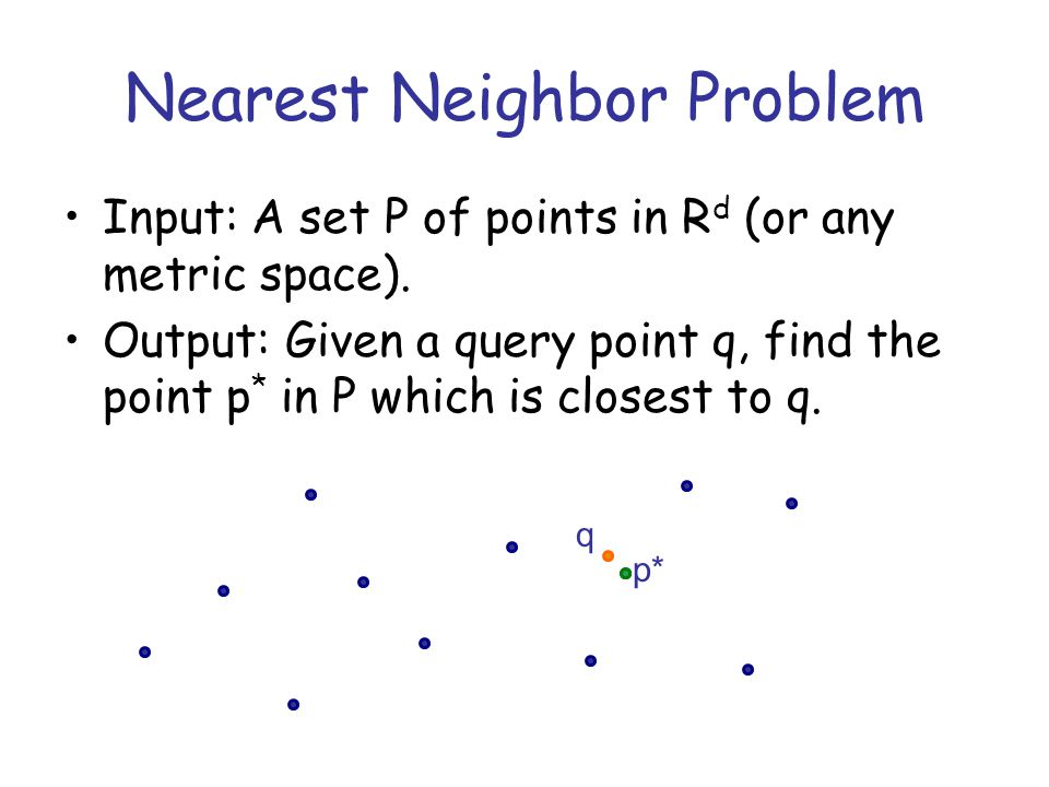 KD-tree: complexity Preprocessing O(nd) Query –O(logn) if points are randomly distributed –w.c.