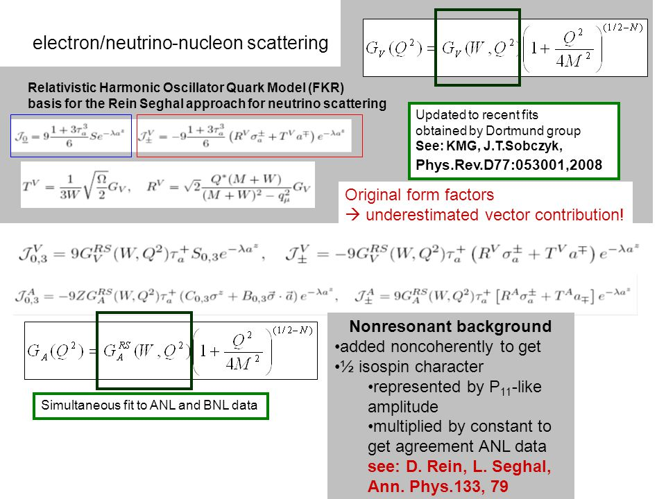 electron/neutrino-nucleon scattering Relativistic Harmonic Oscillator Quark Model (FKR) basis for the Rein Seghal approach for neutrino scattering Updated to recent fits obtained by Dortmund group See: KMG, J.T.Sobczyk, Phys.Rev.D77:053001,2008 Simultaneous fit to ANL and BNL data Nonresonant background added noncoherently to get ½ isospin character represented by P 11 -like amplitude multiplied by constant to get agreement ANL data see: D.