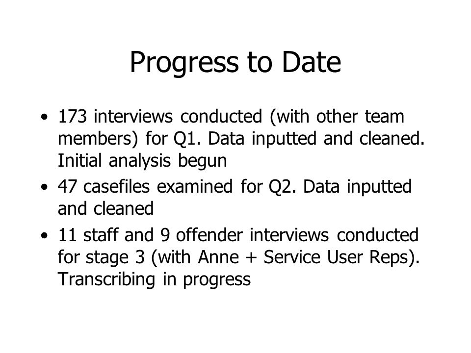 Progress to Date 173 interviews conducted (with other team members) for Q1.