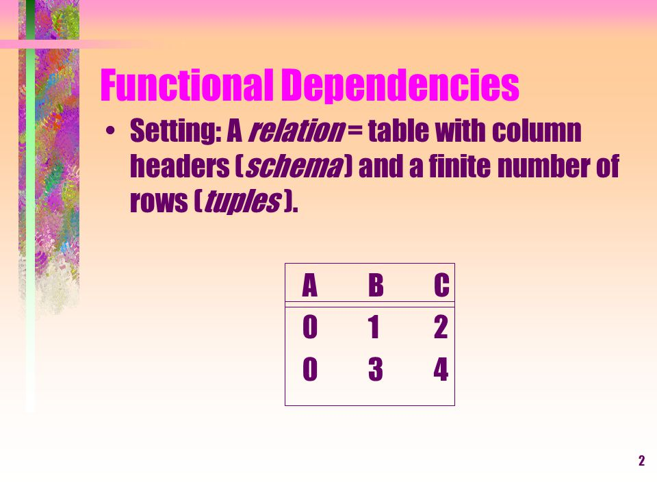 2 Functional Dependencies Setting: A relation = table with column headers (schema ) and a finite number of rows (tuples ).
