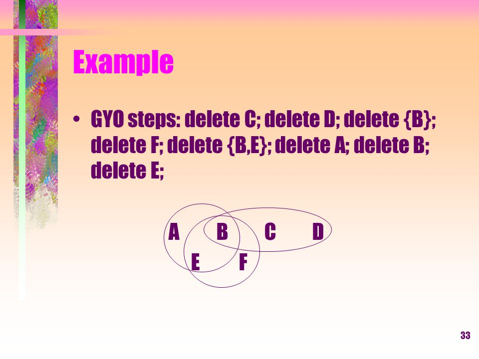 33 Example GYO steps: delete C; delete D; delete {B}; delete F; delete {B,E}; delete A; delete B; delete E; ABCD E F