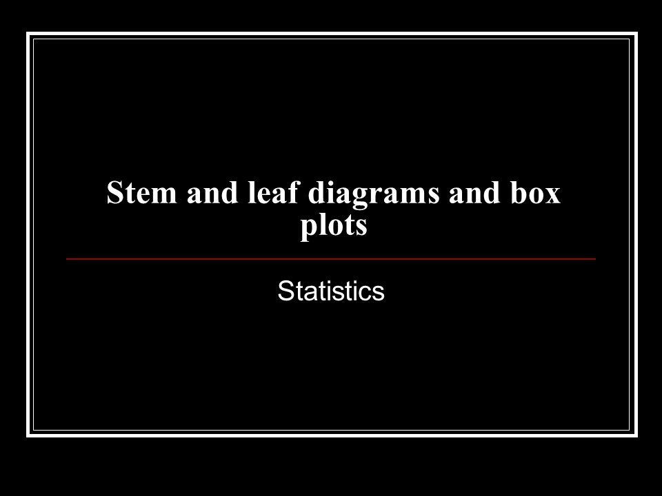 Stem and leaf diagrams and box plots Statistics