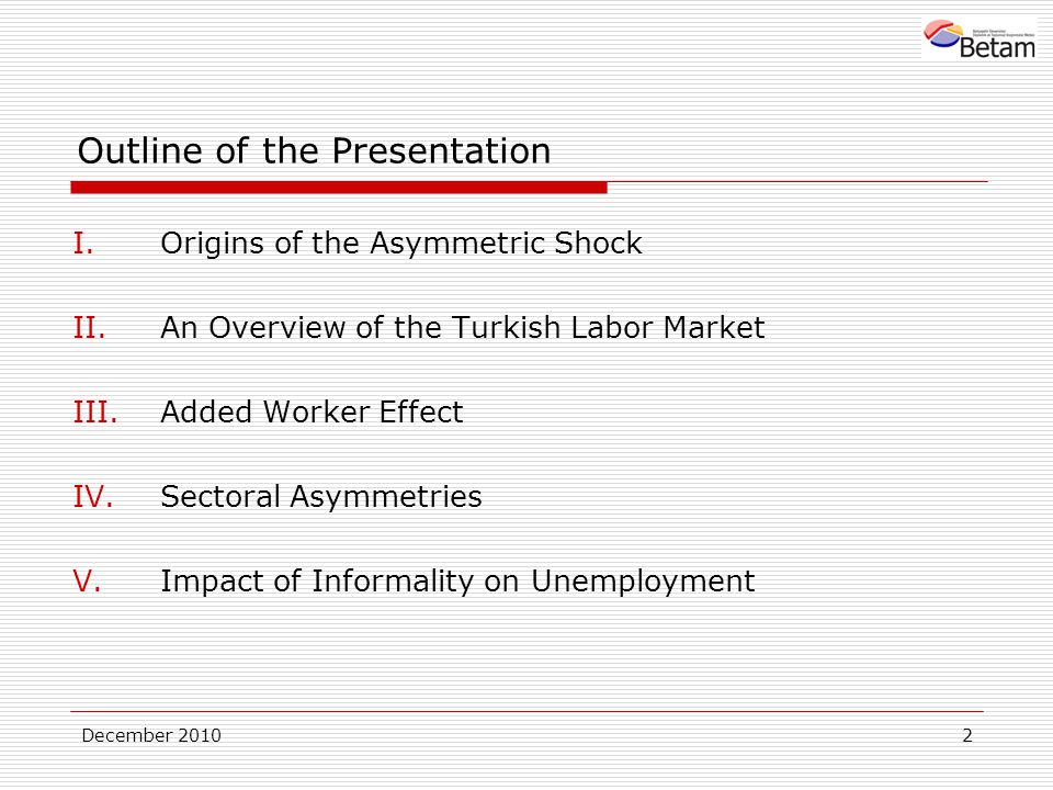 December Outline of the Presentation I.Origins of the Asymmetric Shock II.An Overview of the Turkish Labor Market III.Added Worker Effect IV.Sectoral Asymmetries V.Impact of Informality on Unemployment