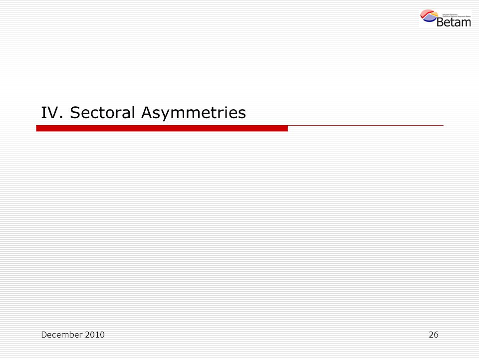 December IV. Sectoral Asymmetries