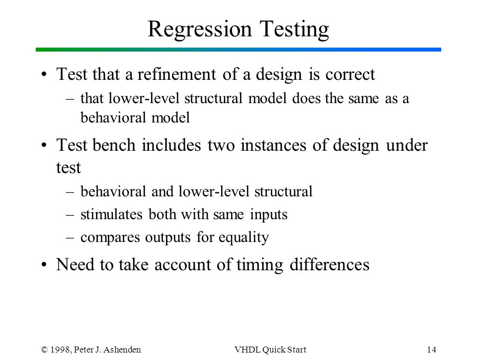 © 1998, Peter J. AshendenVHDL Quick Start14 Regression Testing Test that a refinement of a design is correct –that lower-level structural model does t