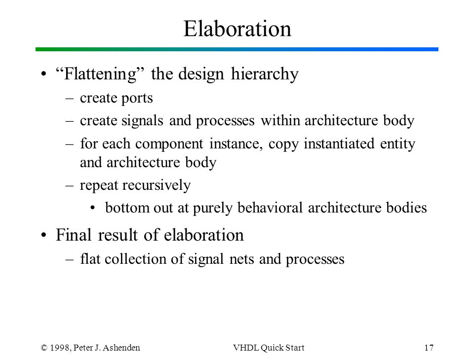 """© 1998, Peter J. AshendenVHDL Quick Start17 Elaboration """"Flattening"""" the design hierarchy –create ports –create signals and processes within architect"""