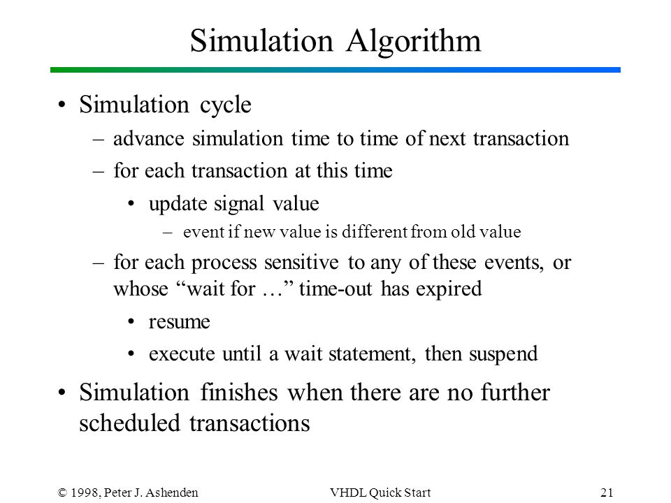 © 1998, Peter J. AshendenVHDL Quick Start21 Simulation Algorithm Simulation cycle –advance simulation time to time of next transaction –for each trans