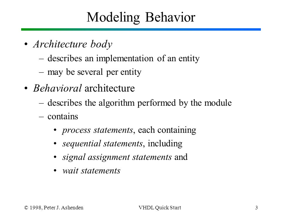 © 1998, Peter J. AshendenVHDL Quick Start3 Modeling Behavior Architecture body –describes an implementation of an entity –may be several per entity Be