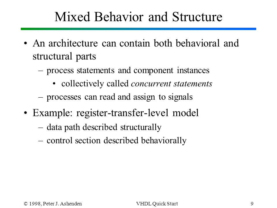 © 1998, Peter J. AshendenVHDL Quick Start9 Mixed Behavior and Structure An architecture can contain both behavioral and structural parts –process stat