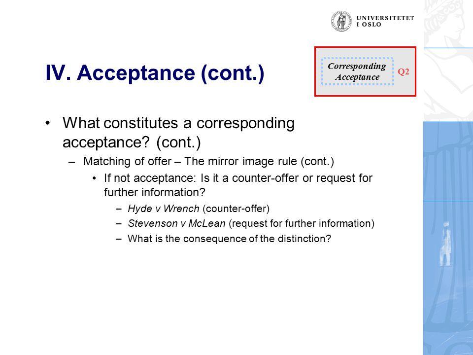 IV. Acceptance (cont.) What constitutes a corresponding acceptance.