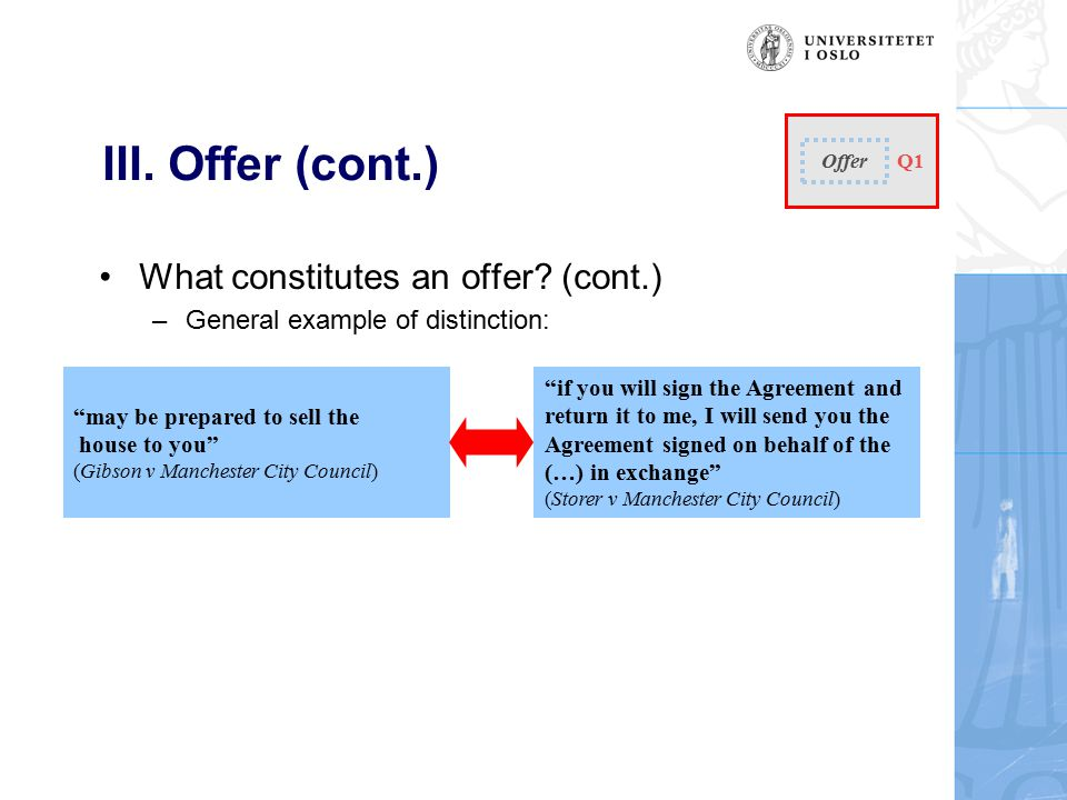 III. Offer (cont.) What constitutes an offer.