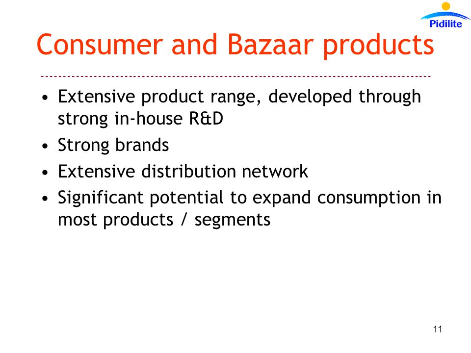 Consumer and Bazaar products Extensive product range, developed through strong in-house R&D Strong brands Extensive distribution network Significant potential to expand consumption in most products / segments