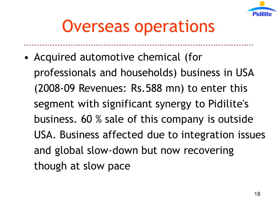 Overseas operations Acquired automotive chemical (for professionals and households) business in USA ( Revenues: Rs.588 mn) to enter this segment with significant synergy to Pidilite s business.