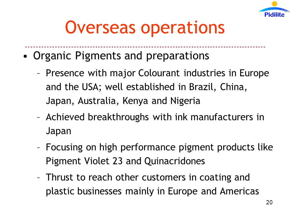 Overseas operations Organic Pigments and preparations –Presence with major Colourant industries in Europe and the USA; well established in Brazil, China, Japan, Australia, Kenya and Nigeria –Achieved breakthroughs with ink manufacturers in Japan –Focusing on high performance pigment products like Pigment Violet 23 and Quinacridones –Thrust to reach other customers in coating and plastic businesses mainly in Europe and Americas