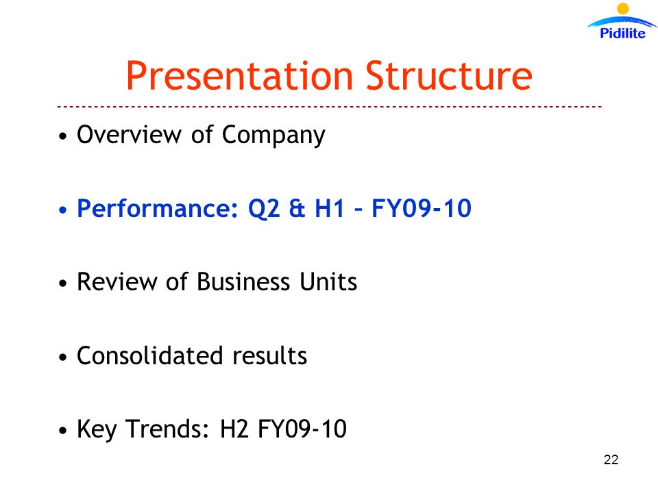 Presentation Structure Overview of Company Performance: Q2 & H1 – FY09-10 Review of Business Units Consolidated results Key Trends: H2 FY09-10