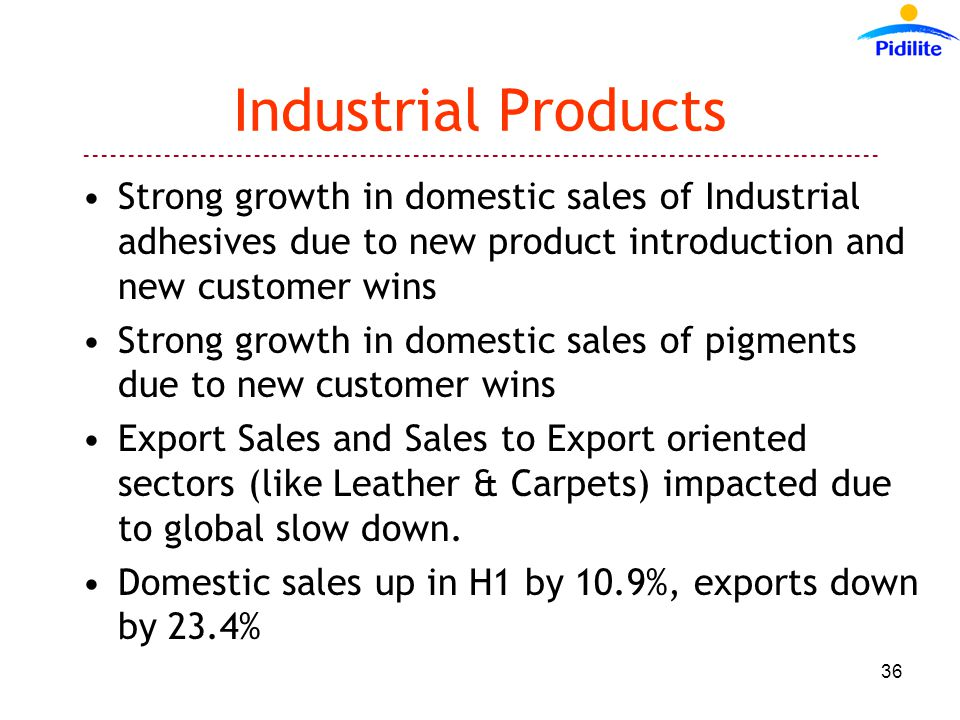 Industrial Products Strong growth in domestic sales of Industrial adhesives due to new product introduction and new customer wins Strong growth in domestic sales of pigments due to new customer wins Export Sales and Sales to Export oriented sectors (like Leather & Carpets) impacted due to global slow down.
