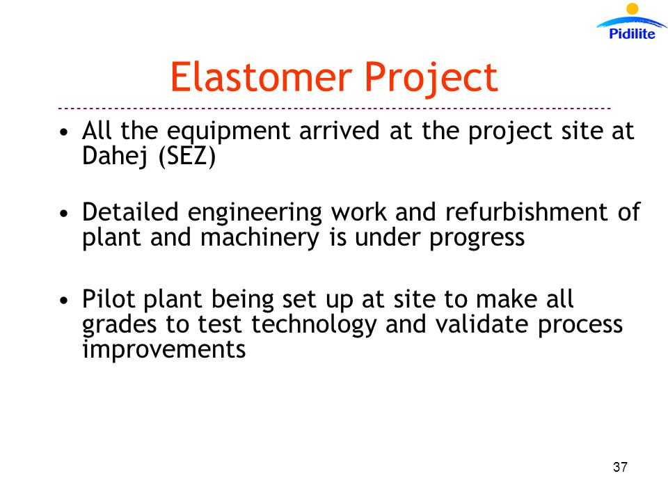Elastomer Project All the equipment arrived at the project site at Dahej (SEZ) Detailed engineering work and refurbishment of plant and machinery is under progress Pilot plant being set up at site to make all grades to test technology and validate process improvements