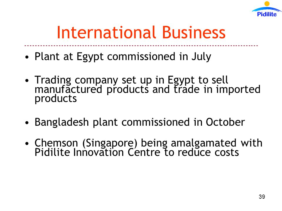 International Business Plant at Egypt commissioned in July Trading company set up in Egypt to sell manufactured products and trade in imported products Bangladesh plant commissioned in October Chemson (Singapore) being amalgamated with Pidilite Innovation Centre to reduce costs