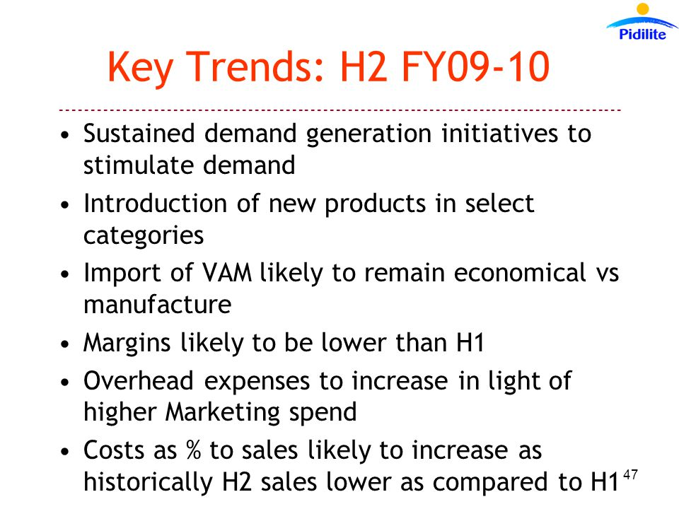 Key Trends: H2 FY09-10 Sustained demand generation initiatives to stimulate demand Introduction of new products in select categories Import of VAM likely to remain economical vs manufacture Margins likely to be lower than H1 Overhead expenses to increase in light of higher Marketing spend Costs as % to sales likely to increase as historically H2 sales lower as compared to H1