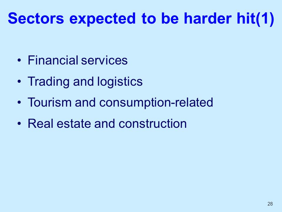 28 Sectors expected to be harder hit(1) Financial services Trading and logistics Tourism and consumption-related Real estate and construction