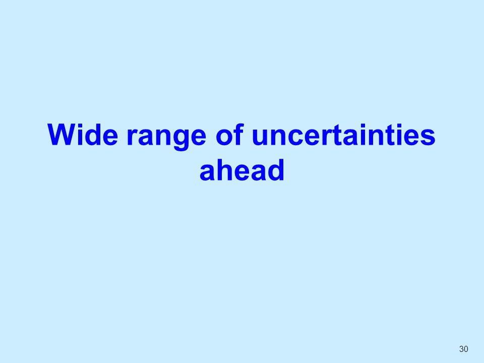 30 Wide range of uncertainties ahead