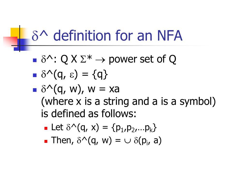  ^ definition for an NFA  ^: Q X  *  power set of Q  ^(q,  ) = {q}  ^(q, w), w = xa (where x is a string and a is a symbol) is defined as follows: Let  ^(q, x) = {p 1,p 2,…p k } Then,  ^(q, w) =   (p i, a)