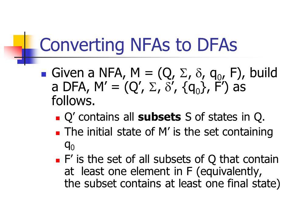 Converting NFAs to DFAs Given a NFA, M = (Q, , , q 0, F), build a DFA, M' = (Q', ,  ', {q 0 }, F') as follows.