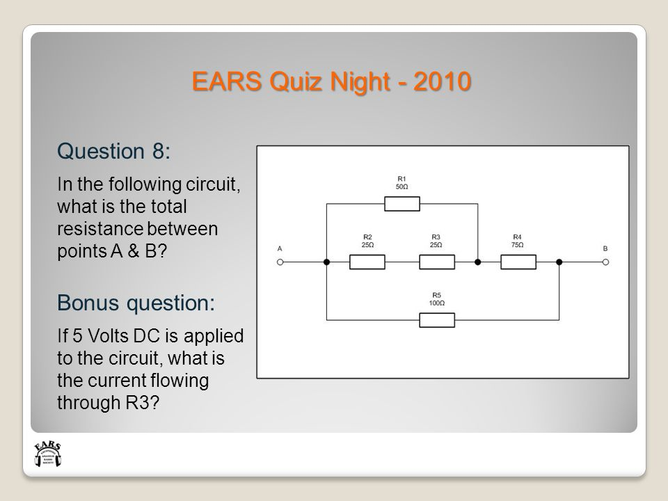 EARS Quiz Night - 2010 Question 8: In the following circuit, what is the total resistance between points A & B.