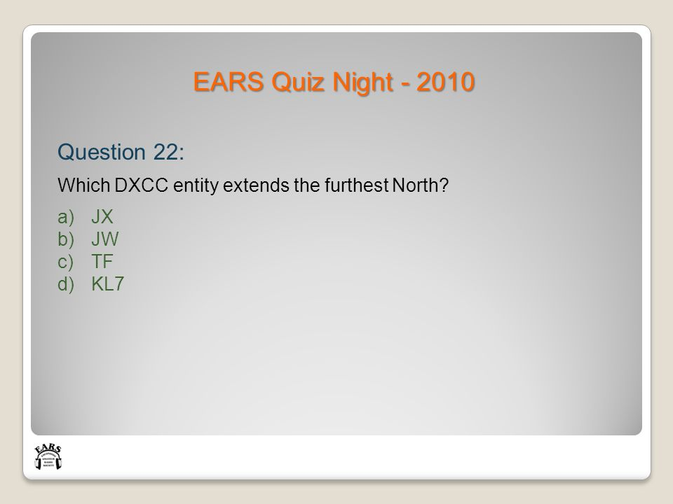EARS Quiz Night - 2010 Question 22: Which DXCC entity extends the furthest North.